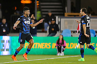 San Jose, CA - Saturday, March 04, 2017: Anibal Godoy celebrates scoring, Marco Ureña prior to a Major League Soccer (MLS) match between the San Jose Earthquakes and the Montreal Impact at Avaya Stadium.