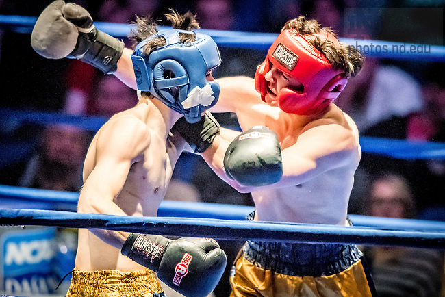 "March 3, 2017; Cam ""Crash Cadillac"" Nolan (gold trunks) and Dan ""Thunder Road"" Andree (blue trunks) fight in the 185lb. division. Andree won by split decision. (Photo by Matt Cashore/University of Notre Dame)"