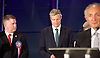 Mayor of London and London Assembly results announcement at City Hall, London, Great Britain <br /> 6th May 2016 <br /> <br /> <br /> The moment it was announced that Sadiq Khan had won.<br /> <br /> Paul Golding - Britain First <br /> <br /> Zac Goldsmith - Conservative<br /> <br /> <br /> <br /> The winner was Sadiq Khan who is appointed the new mayor of London <br /> <br /> <br /> <br /> Photograph by Elliott Franks <br /> Image licensed to Elliott Franks Photography Services