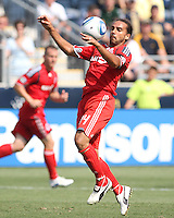 Dwayne De Rosario #14 of Toronto FC pulls in a high ball during an MLS match against the Philadelphia Union at PPL stadium in Chester, Pa. on July 17 2010. Union won 2-1 on a last minute penalty kick goal.