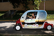 Anne Tazewell, Transportation Program Manager for the NC State Solar Center, drives around campus in a fully electric car.
