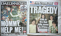 Front pages of the New York Daily News and the New York Post on Sunday, March 22, 2015 report on the tragic deaths of seven children in the Sassoon family in the previous day's fire in their Midwood, Brooklyn home in New York. This was the city's worst fire tragedy since 2007. (© Richard B. Levine)