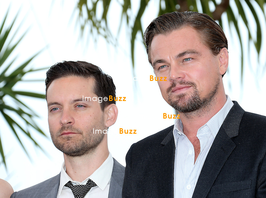 CPE/Toby Maguire and Leonardo Di Caprio attend 'The Great Gatsby' photocall during the 66th Annual Cannes Film Festival at the Palais des Festivals on May 15, 2013 in Cannes, France.