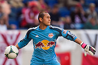 New York Red Bulls goalkeeper Luis Robles (31). The New York Red Bulls and the Columbus Crew played to a 2-2 tie during a Major League Soccer (MLS) match at Red Bull Arena in Harrison, NJ, on May 26, 2013.