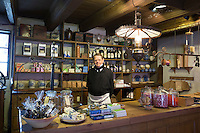 Shop interior at Den Gamle By, The Old Town, open-air folk museum at Aarhus,  East Jutland, Denmark