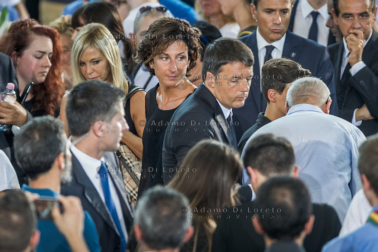 Matteo Renzi and wifs Agnese Landini during the Funeral earthquake on PalaSport Monticelli in Ascoli Piceno  August 27, 2016, in Marche, Italy. Photo by Adamo Di Loreto