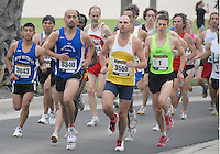 Athletes run south along Barnard Way during the Fifth Santa Monica Classic 5K/10K on Sunday, May 16, 2010. More than 4,000 people will participated in the Santa Monica Classic which raised money and awareness for Heal the Bay, an organization that keeps coastal waters safe and clean in Southern California
