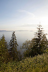 Summer afternoon and view of Pacific Ocean and Samish Bay in Larrabee State Park, Washington State, WA, USA