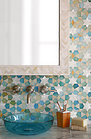 Medina, jewel glass mosaic shown in Aquamarine, Shell, and Agate, is part of the Miraflores Collection by Paul Schatz for New Ravenna Mosaics.
