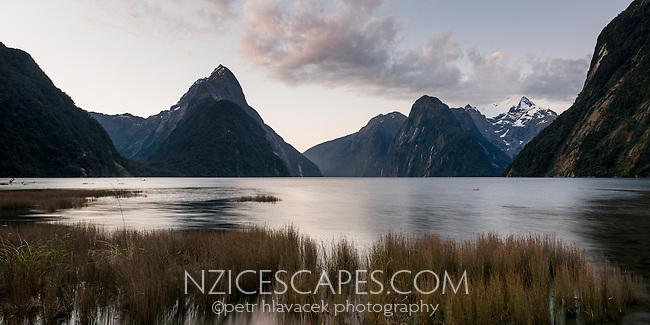 Twilight in Milford Sound, Fiordland National Park, UNESCO World Heritage Area, Southland, New Zealand, NZ