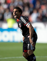 Dwayne De Rosario (7) of D.C. United yells to a teammate during the game at the RFK Stadium in Washington DC.  Philadelphia defeated D.C. United, 3-2.