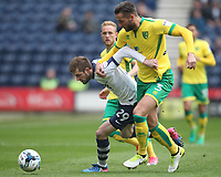 Preston North End's Tom Barkuizen battles with  Norwich City's Mitchell Dijks<br /> <br /> Photographer Mick Walker/CameraSport<br /> <br /> The EFL Sky Bet Championship - Preston North End v Norwich City - Monday 17th April 2017 - Deepdale - Preston<br /> <br /> World Copyright &copy; 2017 CameraSport. All rights reserved. 43 Linden Ave. Countesthorpe. Leicester. England. LE8 5PG - Tel: +44 (0) 116 277 4147 - admin@camerasport.com - www.camerasport.com