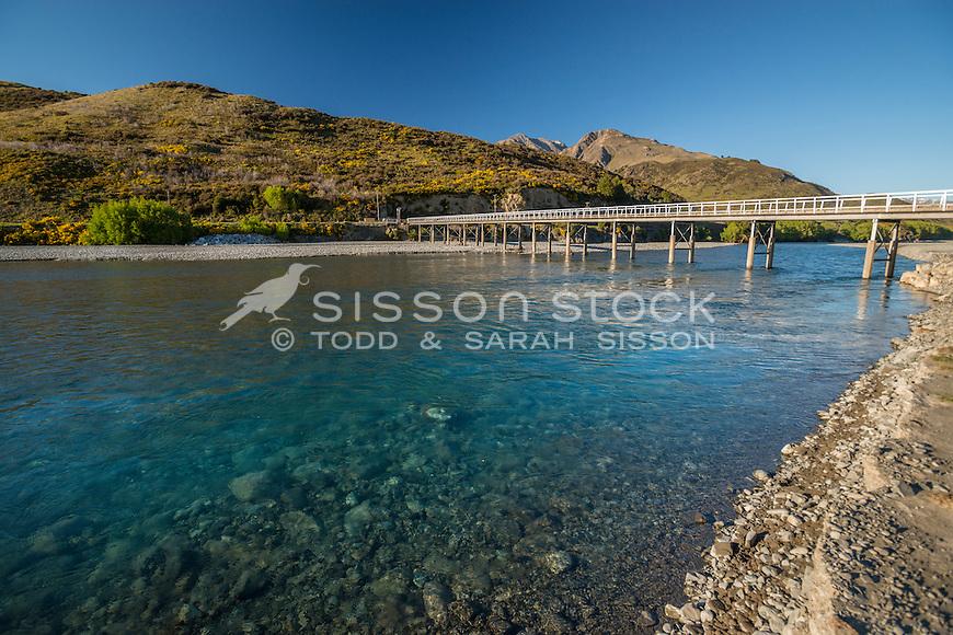 Mt White Bridge, Waimakariri River, Canterbury, New Zealand - stock photo, canvas, fine art print
