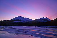 Pink sunset over the Koyukuk river, Brooks mountain range near Wiseman, Alaska.