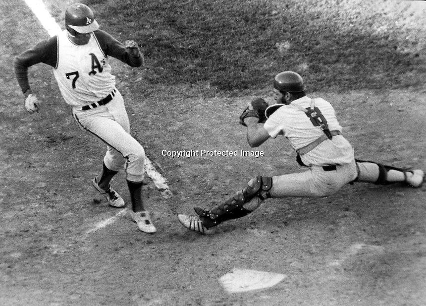 Oakland A's Rick Monday scores as Washington Senators catcher Dick Billings in the 2nd game of a double-header game in Oakland. (photo 1971 by Ron Riesterer)