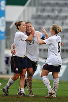 Lauren Cheney (L - #11) and Amy Rodriguez (R - #8) celebrat with goal scorer #20 Abby Wambach (middle) during the USA's 2-1 victory over Norway at the 2010 Algarve Cup game in Olhao, Portugal.