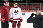Marty McInnis (BC - Assistant Coach), Luke McInnis (BC - 3), Mark Majewski (BC - SID) - The Boston College Eagles practiced at Fenway on Friday, January 6, 2017, in Boston, Massachusetts.