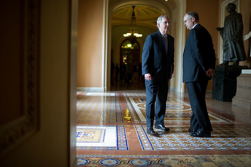 Senate Minority Leader Mitch McConnell (R-KY) heads back to his office after a press conference on Tuesday, May 22nd, 2012 in Washington. (Photo by Jay Westcott/Politico)
