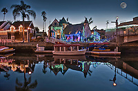 Alamitos Bay, Naples Canals, Motorboats, Houses, Lighted, fantastic,  Christmas, Light Display, Long Beach, CA, Canals,; Boats; Houses; Architecture, Lights; holiday; holidays; travel; usa;