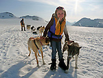North America, USA, Alaska, Skagway. Young girl enjoys meeting the dogs and puppies on a &quot;Glacier Dog-Sledding&quot; shore excursion in Alaska.