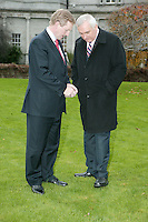 28/11/2007.Fine Gael Leader Enda Kenny TD  & An Taoiseach Bertie Ahern TD at the turning on of the Christmas lights at Leinster House, Dublin..Photo: Gareth Chaney Collins