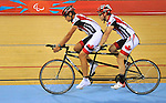 LONDON, ENGLAND – 08/24/2012:  Daniel Chalifour and pilot Alexandre Cloutierduring a training session at the London 2012 Paralympic Games at The Velodrome. (Photo by Matthew Murnaghan/Canadian Paralympic Committee)