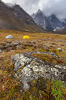 Campsite on the autumn tundra with a view of East and West Maiden and Camel peaks in the distance, Arrigetch Peaks, Gates of the Arctic National Park, Alaska.