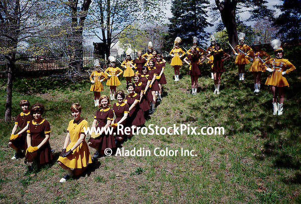 St. John Villa Academy. Teenager girls in cheerleader & band uniforms. 1959