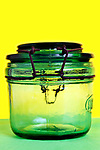 old style empty glass preserving container