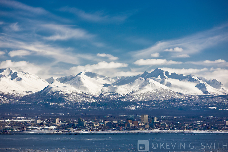 Aerial photo of Downtown Anchorage from Point MacKenise, late winter, Southcentral Alaska, USA.