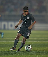 Bryan Duran dribbles the ball. Spain defeated the U.S. Under-17 Men National Team  2-1 at Sani Abacha Stadium in Kano, Nigeria on October 26, 2009.