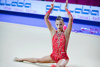 MELITINA STANIOUTA of Belarus performs with clubs at 2016 European Championships at Holon, Israel on June 18, 2016.