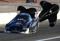 Mar 28, 2014; Las Vegas, NV, USA; NHRA funny car driver Alexis DeJoria during qualifying for the Summitracing.com Nationals at The Strip at Las Vegas Motor Speedway. Mandatory Credit: Mark J. Rebilas-