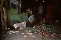 Flower market in Calcutta, India in 1996