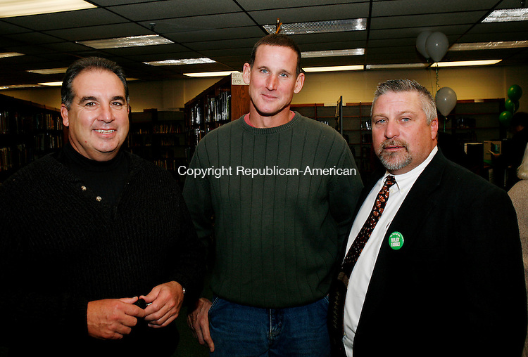 WATERBURY, CT 30 October 2008-103108CM14--From left to right, Mark Poulin, Bill McEnee and Joe Begnal take a moment out of Thursday's nights celebration inside Wilby High School.     <br /> Christopher Massa Republican-American
