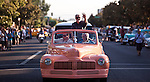 "Filmmaker George Lucas waves to the crowd during the American Graffiti Parade in Modesto, California, June 7, 2013. Modesto is celebrating the 40th anniversary of the film ""American Graffiti"", with a parade headed up by native son, filmmaker George Lucas."