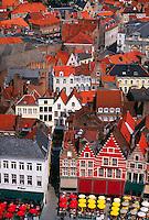 Overview of the Markt (Market Square), Brugge (Bruges), Belgium
