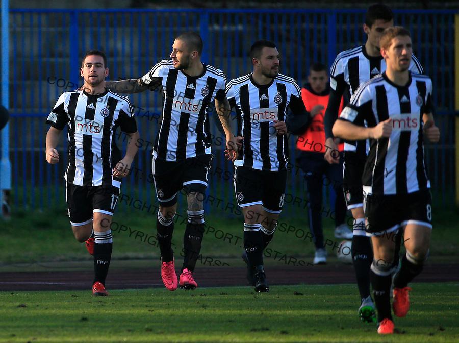 Fudbal Jelen Super League season 2015-2016<br /> Spartak v Partizan<br /> Andrija Zivkovic (L) celebrate the goal with the Ivan Bandalovski and Valeri Bozhinov (Bojinov)<br /> Subotica, 29.11.2015.<br /> foto: Srdjan Stevanovic/Starsportphoto&copy;
