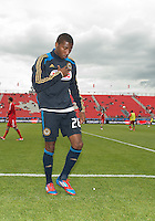 15 September 2012: Philadelphia Union defender Raymon Gaddis #28 after the warm-up in an MLS game between the Philadelphia Union and Toronto FC at BMO Field in Toronto, Ontario..The game ended in a 1-1 draw..