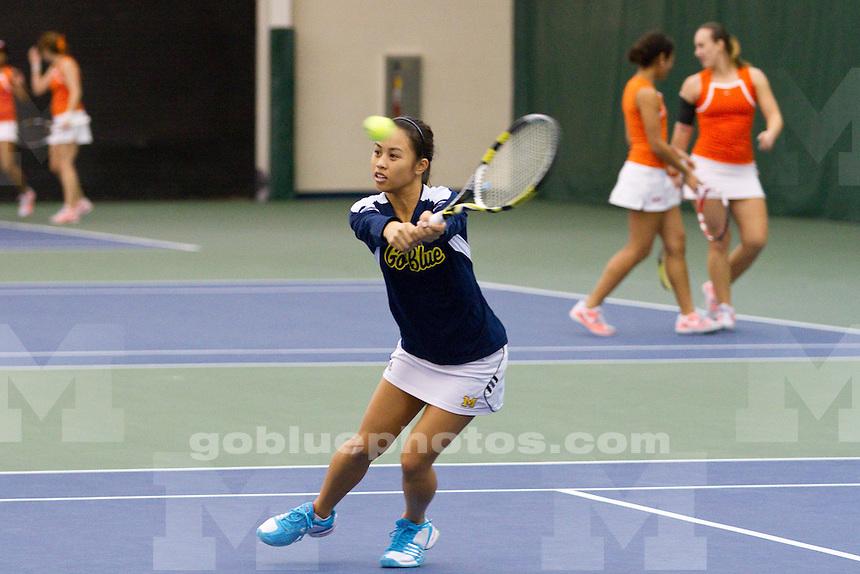 The University of Michigan women's tennis team defeats Virginia Tech, 6 - 1, at the Varsity Tennis Center in Ann Arbor, Mich., on Jan. 25, 2014.