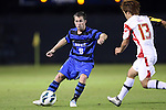 12 October 2012: Duke's Riley Wolfe (9) and Maryland's Tsubasa Endoh (JPN) (13). The University of Maryland Terrapins defeated the Duke University Blue Devils 2-1 at Koskinen Stadium in Durham, North Carolina in a 2012 NCAA Division I Men's Soccer game.