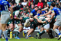 Lachlan McCaffrey of Leicester Tigers with the ball at the back of a maul. Aviva Premiership match, between Leicester Tigers and Saracens on March 20, 2016 at Welford Road in Leicester, England. Photo by: Patrick Khachfe / JMP