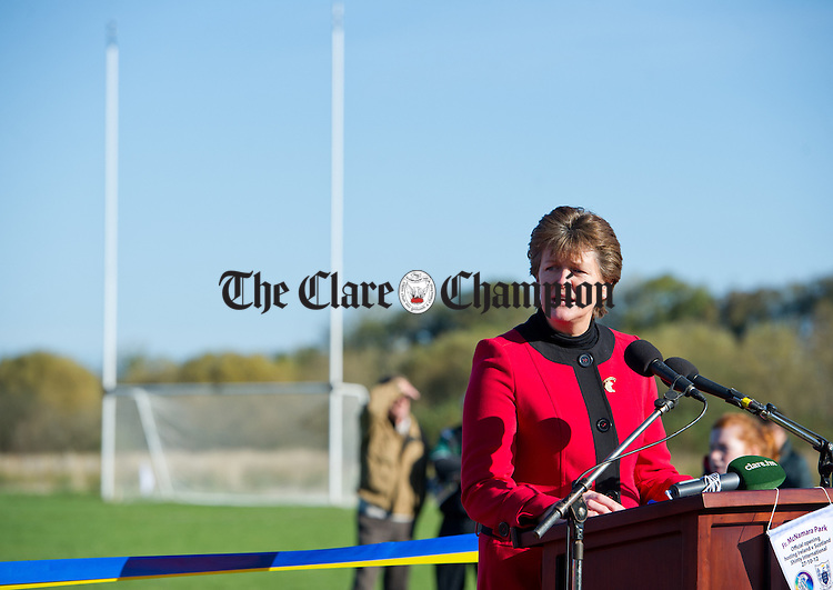 Camogie's national President Aileen Lawlor speaking at the official opening of Fr Mc Namara Memorial Park in Doora. Photograph by John Kelly.