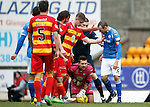 St Johnstone v Partick Thistle....17.10.15  SPFL     McDiarmid Park, Perth<br /> Dave Mackay gets angry with a time wasting Tomas Cerny<br /> Picture by Graeme Hart.<br /> Copyright Perthshire Picture Agency<br /> Tel: 01738 623350  Mobile: 07990 594431