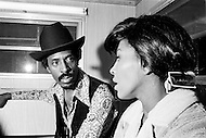August 1970, Manhattan, New York City, New York State, USA --- Singer Tina Turner and guitarist Ike Turner being interviewed before a concert in August 1970 at Central Park in Manhattan. --- Image by © JP Laffont