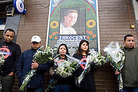 Family and supporters unveil a memorial moziac to Jean Charles de Menezes at Stockwell underground station on what would have been huis 32nd birthday. Transport for London finally agreed to a perminat memorial after two years of talks.