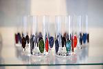 Photo shows samples of Tsugaru lacquerware products on sale at Tanaka-ya in Hirosaki, Japan on 18 Jan. 2013. The product shown glass tumblers. Photo: Robert Gilhooly..