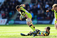 Mike Fitzgerald of Leicester Tigers takes on the Northampton Saints defence. Aviva Premiership match, between Northampton Saints and Leicester Tigers on March 25, 2017 at Franklin's Gardens in Northampton, England. Photo by: Patrick Khachfe / JMP