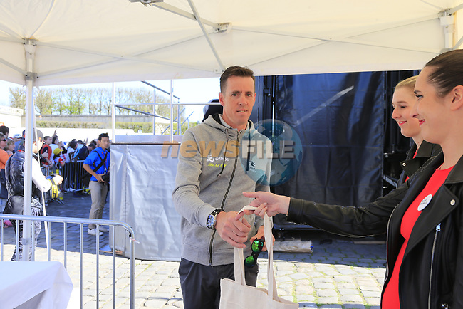 Last year's winner Mathew Hayman (AUS) Orica-Scott at the Team Presentation for the upcoming 115th edition of the Paris-Roubaix 2017 race held in Compiegne, France. 8th April 2017.<br /> Picture: Eoin Clarke | Cyclefile<br /> <br /> <br /> All photos usage must carry mandatory copyright credit (&copy; Cyclefile | Eoin Clarke)