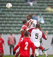 CARSON, CA - March 25, 2012: Jamal Gay (9) of Trinidad & Tobago during the Panama vs Trinidad & Tobago match at the Home Depot Center in Carson, California. Final score Panama 1, Trinidad & Tobago 1.